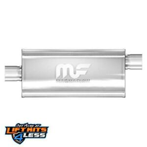 """MAGNAFLOW 12229 5/"""" x 8/"""" UNIVERSAL Oval SS Muffler Satin Finish 3/"""" In//Out"""