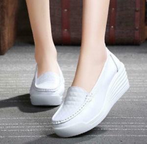 Womens Ladies Med Wedge Heels Round Toe Lace Nurse Loafers Slip On Oxfords Shoes