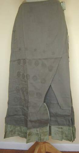 "New/_Boho/_32/"" long/_Lined Cotton Wrap Skirt/_Gray Green/_Free Size/_Beautiful"
