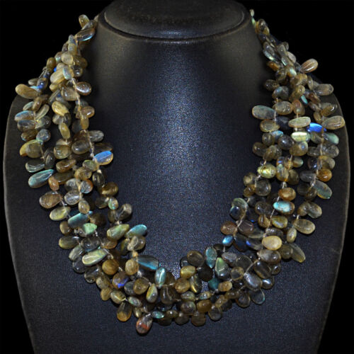 900.00 cts Natural 3 Strand Flash Bleu Labradorite Larme Perles Collier