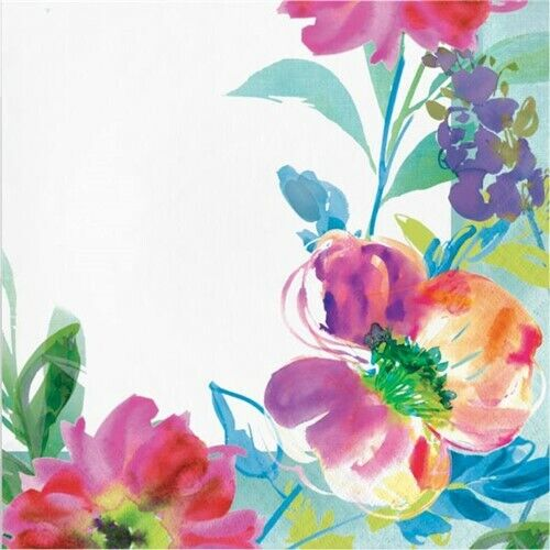 Painterly Floral Lunch Napkins Watercolor Spring Flower Floral Party Decor