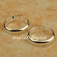 925 Sterling Silver 30mm Medium-Size 5mm Wide Smooth Shiny Flat Hoop Earring ZG2