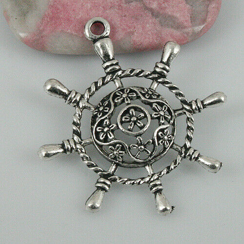 12pcs tibetan silver color flower rudder pendant EF0494