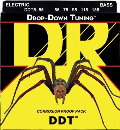 55-135 5-string heavy gauge DR DDT5-55 BASS Guitar Strings