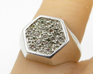925-Sterling-Silver-Vintage-Cubic-Zirconia-Hexagonal-Ring-Sz-6-R3840