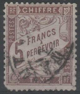 FRANCE-STAMP-TIMBRE-TAXE-N-27-034-TYPE-DUVAL-5F-MARRON-034-OBLITERE-A-VOIR-N382