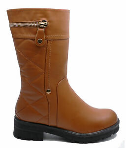 WOMENS KHAKI ZIP-UP ANKLE CALF WARM FLEECE LINED CASUAL BOOTS SHOES SIZES 3-8