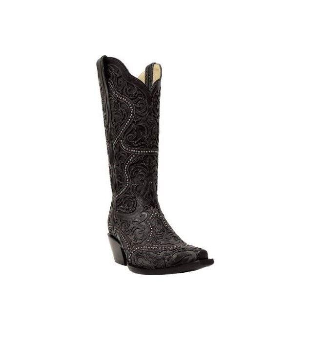 Corral Damen Voll Überzug & Nieten Cowboy Western Stiefel Schwarz G1310