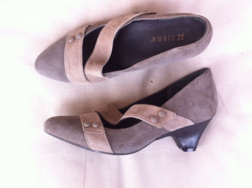 STYLISH ZIERA KHAKIBEIGE SUEDE LEATHER HEELS SIZE 42M BN RRP$269.95