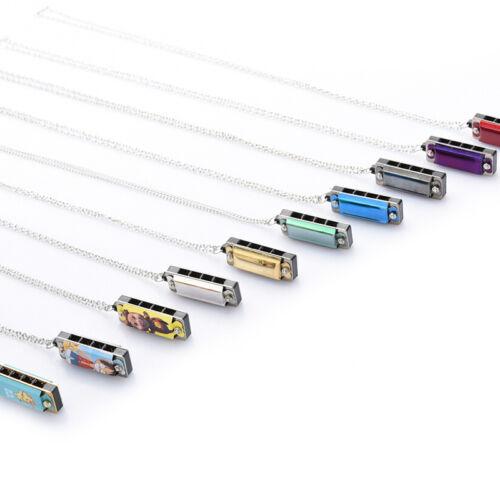 ZP Neu Mini 4 Loch 8 Ton Harmonika Halskette Modeschmuck G