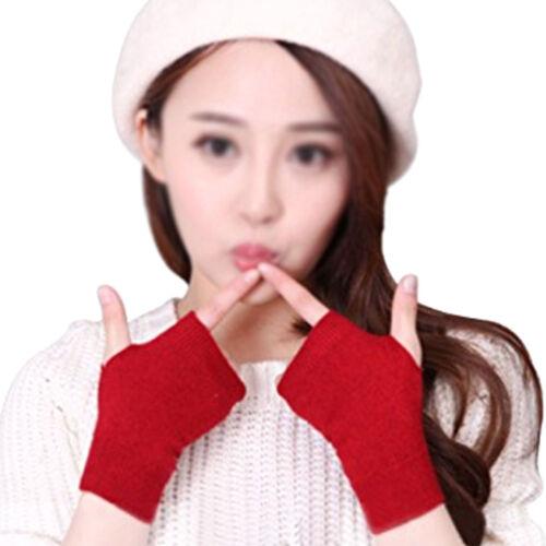 1Pair Women Soft Cashmere Fingerless Warm Winter Gloves Hand Wrist Warmer Mitten