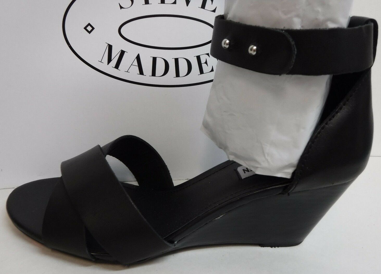Steve Madden Size 6.5 Black Leather Wedge Sandals New Womens Shoes