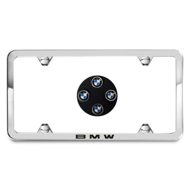 BMW Silver Slimline License Plate Frame /& M LOGO Valve Caps SET 82122456415