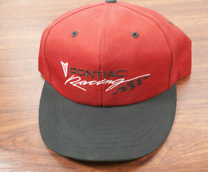 0ebb43193 Details about Vintage Pontiac Racing Hat Cap Black & Red Snapback NASCAR  Checkered Flag Logo