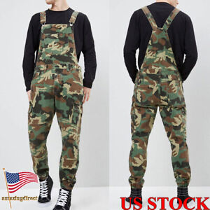 Men-039-s-Distressed-Denim-Camouflage-Overalls-Bib-Jumpsuit-Moto-Biker-Jean-Pants-US