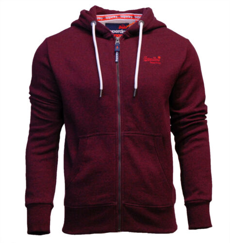 Through Superdry Burgundy Zip Label Orange Mens con Felpa Cranberry cappuccio New Grit rfF6nXwqf