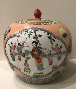 Verte Chinese Large Ginger Jar Hand Painted Famille Scene Flowers