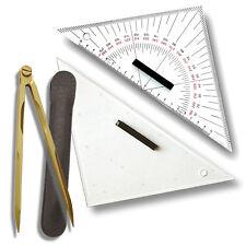 3 STÜCK ----- Navigationsset - Zirkel & 2 Dreiecke # Navigation Kursdreieck Boot