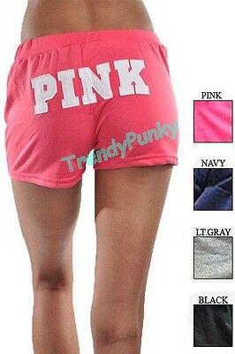 PINK Black Women's Yoga Pants Shorts Pajama Sweatpants Dance Sports Gym