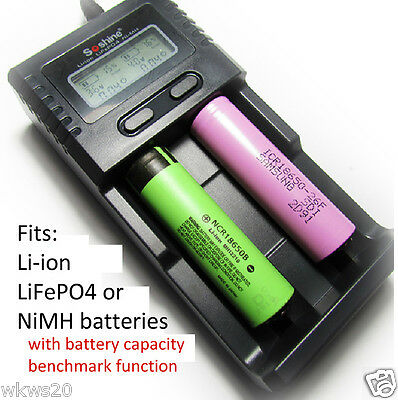Lithium ion LiFePO4 NiMH battery LCD capacity benchmark Charger 18650 AAA AA H2