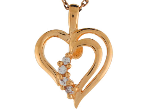 Details about  /10k or 14k Yellow Gold White Diamond Beautiful Heart Floating Charm Pendant