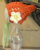 Crochet Pumpkin Vintage-style Pixie Shell Baby Bonnet With Mohair Flower & Pearl