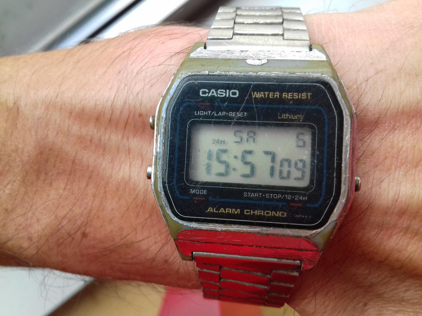 Vintage Casio A155W Module 587 Digital Watch MONTRE UHR MADE  Kl8LS
