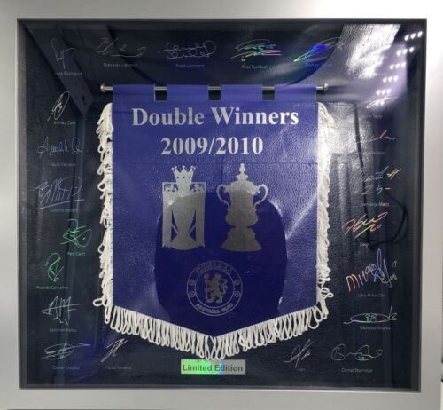 Limited Edition Chelsea Double Winners 20092010 Framed Signed Pennant