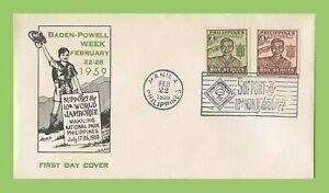 Phillipines-1959-decimo-nazionale-SCOUT-grande-occasione-di-incontro-coprire-con-Imperf-Set-di-due