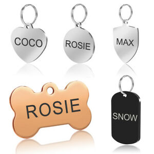 Stainless Steel Pet Dog Tags Personalized Disc Engraved Id Name Phone Address Ebay