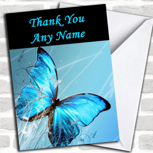 Blue Butterfly Personalised Thank You Card