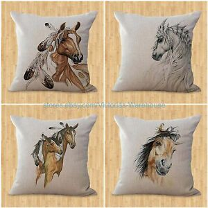 set-of-4-home-interior-decorating-horse-pillow-cushion-covers-equine