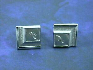 Vintage-Silver-Tone-Signed-SWANK-Cuff-Links-Brushed-Silver-Tone