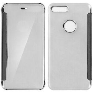 Dettagli su Custodia a Libro Clear View Specchio per Apple iPhone 7 Plus e 8 Plus - Argento