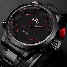 Neu Luxus Herrenuhr Edelstahl Analog Digital Alarm Datum Armbanduhr Wasserdicht