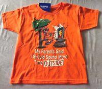 Boys Neon Orange Tee Shirt Size 6/7 Video Games Play Outside Cute
