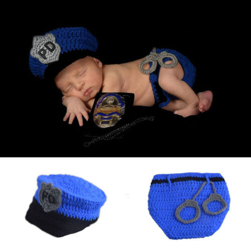 Newborn Knitting Outfit Baby Crochet Costume Photo Props Sets Police Blue Lovely