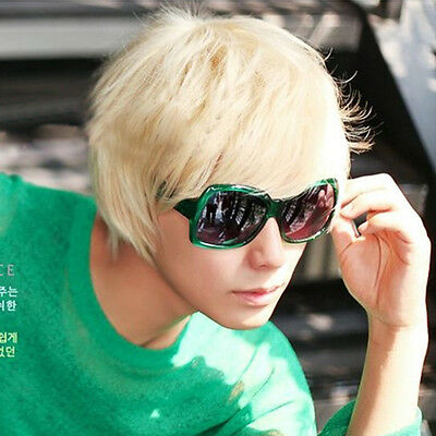 1x Mens Boys New Trendy Short Straight Platinum Blonde Wig Cosplay Party Costume