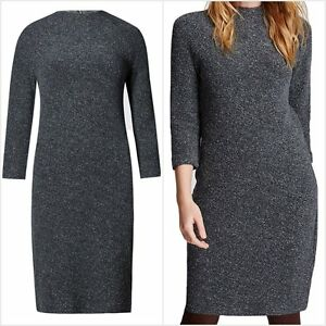 Fa-M-Ou-S-High-St-Store-Grey-3-4-Sleeve-Funnel-Neck-Tunic-Dress-RRP-39-50