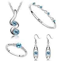 ladies silver wedding bridal gift jewellery new dangle earring necklace set JJ18