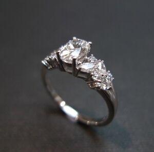 Image Is Loading Estate Vintage Oval Diamond Engagement Wedding Ring Set