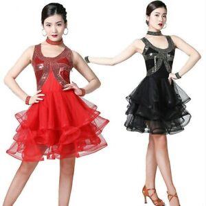 6ac31d5662ea Women Ladies Latin Dance Dress Salsa Modern Tango Ballroom Sequins ...