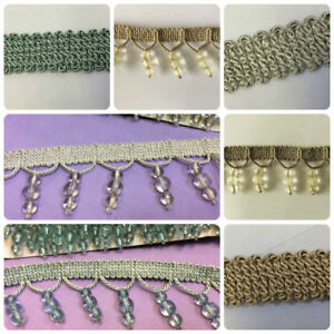 Designer Curtain Blind Bugle Beaded Trim Choose From Several Colours