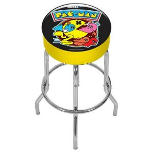 Shop-Stool-PacMan-Arcade1UP-Adjustable-Height-Pac-Man-Chrome-Plated-Steel-Frame