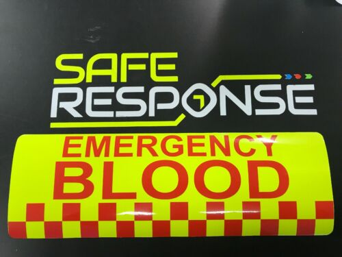 Magnetic sign EMERGENCY BLOOD dayglo Background with red text vehicle signage