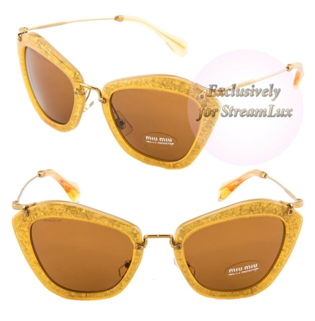 bc438ed8ef89 MIU MIU NOIR Women Sunglasses SMU 10N Honey Yellow Brown Gold Glitter MU10NS
