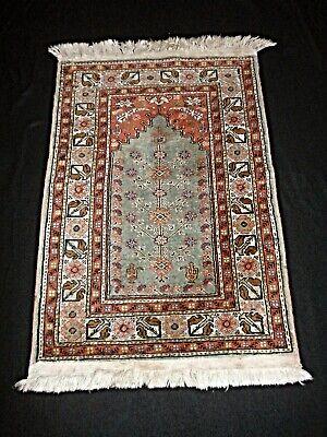 Rare Antique Oriental Hand Woven Silk Prayer Rug W Life