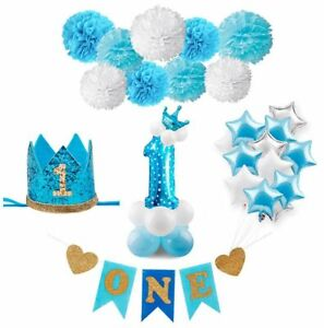 Birthday-Boy-Party-Decorations-Kids-My-1st-Birthday-Blue-Party-Foil-Balloons