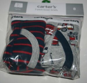 stripes NWT Carter/'s Boys Boxer Brief Underwear 2pair//pack Firetrucks