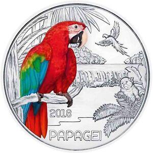 3-Euro-Tier-Taler-Der-Papagei-6-Ausgabe-der-Munze-Osterreich-in-Munzkapsel